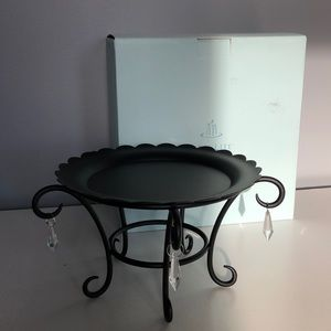 """PartyLite black metal """"Chateau"""" 3 wick candle base"""